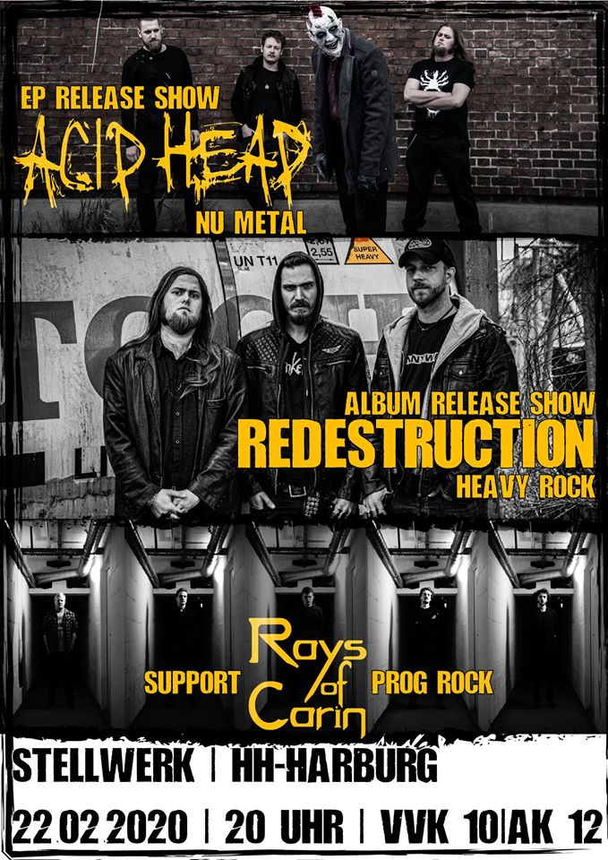 back from fb metal 60248 Acid Head & Redestruction Double Release Gig, Support: Rays of Carin